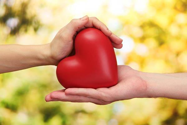 Mãos seguram coração