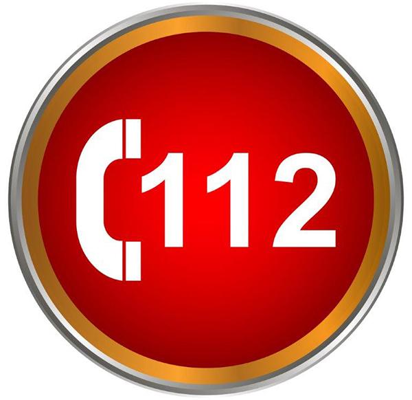 Sinal com o número de emergência médica 112